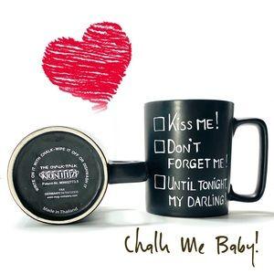 Pair of Black Chalk Talk KONITZ Coffee Mugs